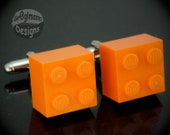 Orange Cufflinks - made with LEGO bricks