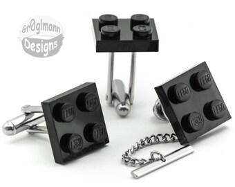 Cufflinks & Tie Tack Set - made with LEGO bricks
