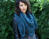 My Love chunky lace cowl scarf open end Boho Vegan teal blue