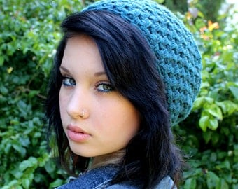 Grunge slouch chunky hat vegan chunky beret Teal blue