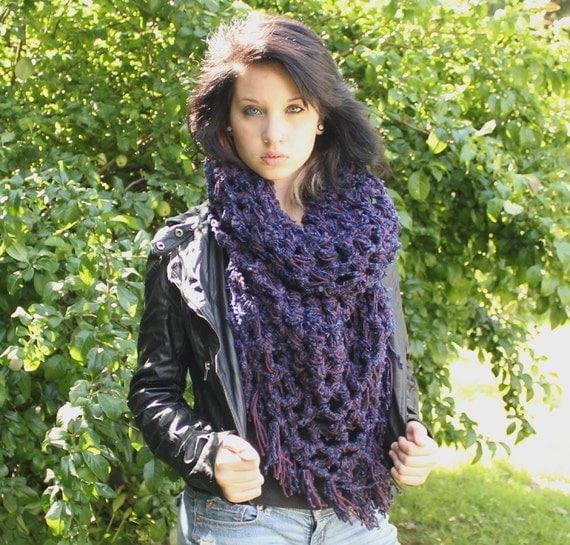 The Fringe Cowl scarf hood eternity slouch royal blue grape purple