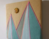 Teal Geometric Mountains Textile Wall Art by Tiny Marie OOAK
