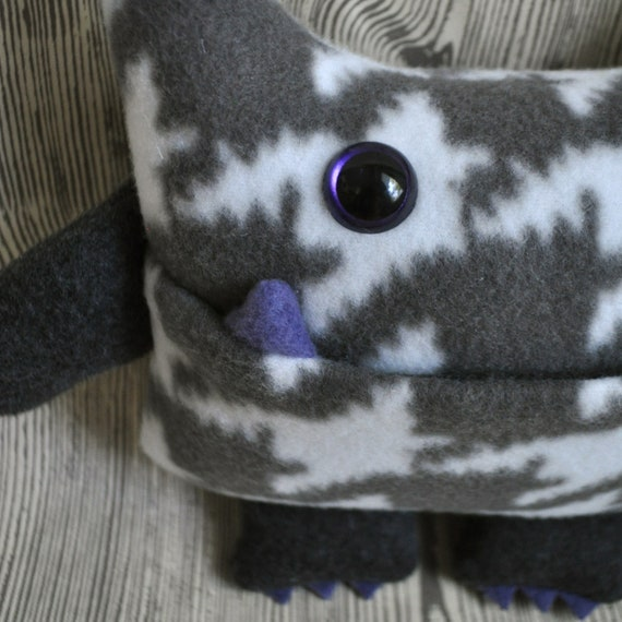 Wibbly Woo - a gray houndstooth stuffed plush pocket monster