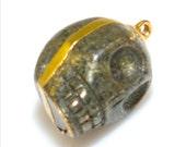 Gold Edged Pyrite Skull Pendant