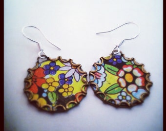 PRAIRIE Vintage Tea Tin Floral Earrings