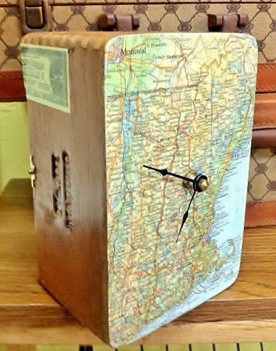 Vintage 1957 Map of New England Handmade Wood Cigar Box Clock by cadencedesigns on etsy