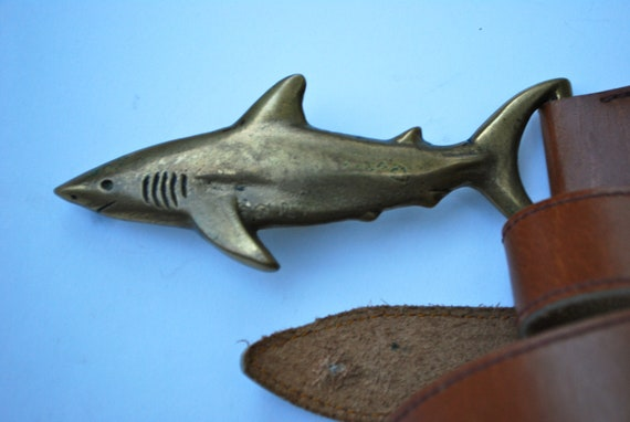 Vintage Pete Johnston Brass Shark Buckle and Brown Leather Belt