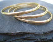 Brass Bangles, Brushed Gold, Golden Bangles, set of 3 Brass Bangles Bracelets Golden Bracelets - Spun Gold - handmade to order in your size