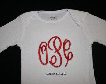 Monogrammed Shirt/Bodysuit-- you choose thread color