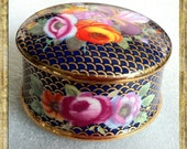 Vintage English Bone China Trinket Pot - Colourful Flowers - Gilded - Circular Box.