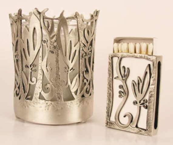 Yahrzeit Memorial Candle Holder and Match Box Cover