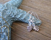Falling leaves little silver earrings