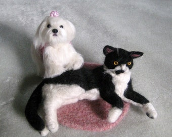 Wedding Cake Topper / Custom Felted Miniature Sculpture of your pet on your Wedding cake  / Cute