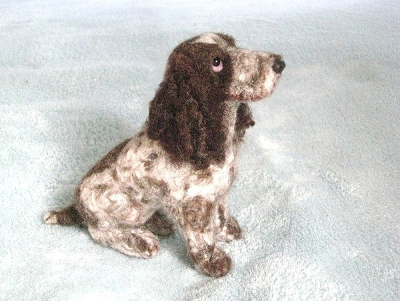 Needle Felted Dog / Handmade Custom Pet Portrait of your Pet / Poseable example English Cocker Spaniel