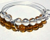 Amber abacus bracelet in amber and crystal glass