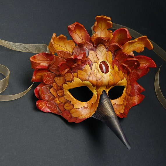 Autumn Forest Raven - Leather Mask