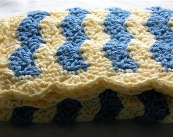 SALE Baby Boy Blanket, Baby Girl Blanket, Hand Crochet baby blanket, mini afghan, stroller blanket, Yellow Blue