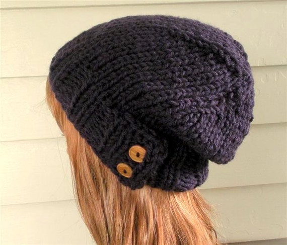 SALE Womens Knit Hat - Purple hat, slouchy  beanie grape Chunky, winter, ski, vegan, teen
