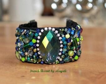 Beaded cuff bracelet, statement bracelet, hand stitched, french jewelry,FREE SHIPPING