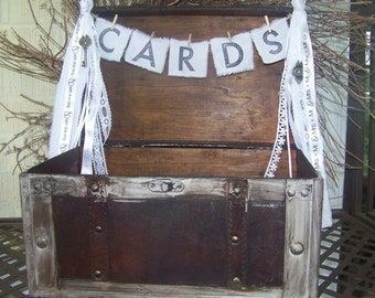 Shabby Chic Wedding Card Box with Banner and Lace Streamer and Rustic Key and Lock