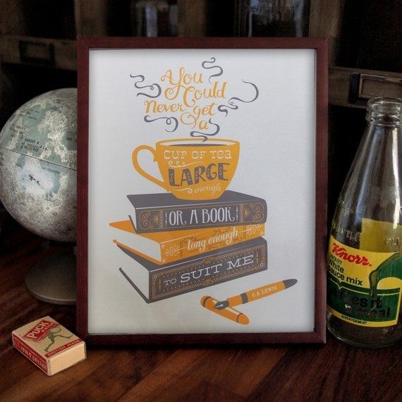 Tea and Books - CS Lewis quotation illustration print