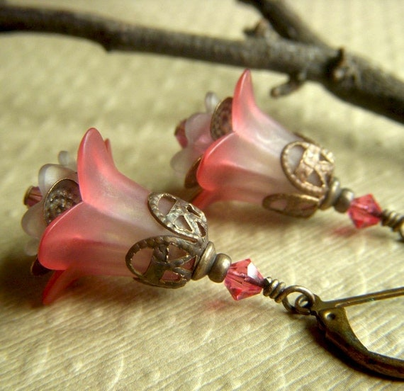 Lucite Floral Earrings on Brass . Vintage Inspired Soft Rose Dangle Boho . Spring Garden