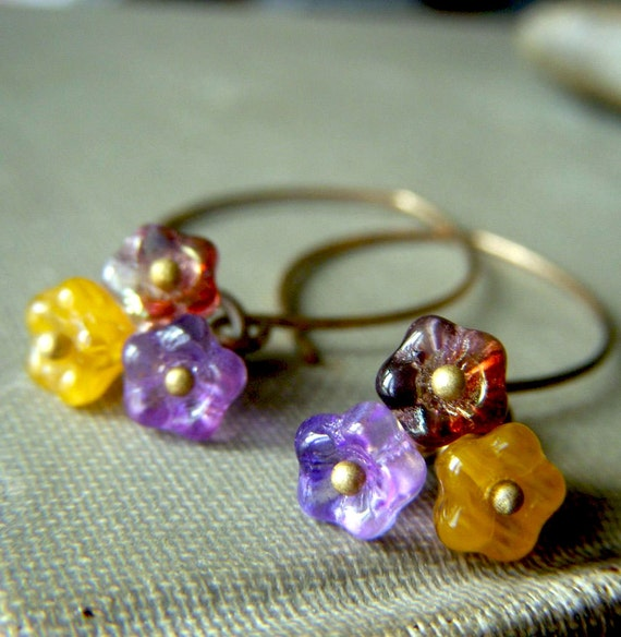 Floral Cluster Earrings on Brass . Lavender and Yellow Glass Flower Dangle Bohemian . Bouquet