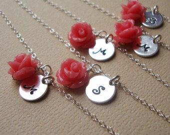 FOUR sets Personalized Bridal necklaces, stamped initial, bridal party, coral roses jewelry