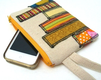 iPhone Wallet Smart Phone Wristlet - Skyscrapers in Yellow Green and Orange on Natural