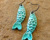 FUN fund - verdigris patina koi fish earrings