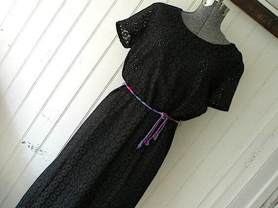 SALE 1950s black eyelet cotton lace dress