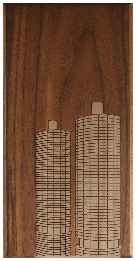 Chicago Corn Cob Buildings 6x12 - Walnut