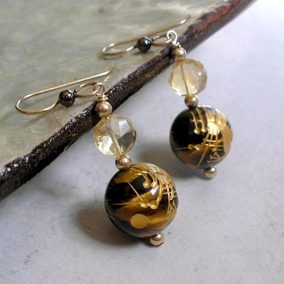 Dragon Earrings- Tiger Eye, Citrine, Gold Earrings with Gilded Dragons