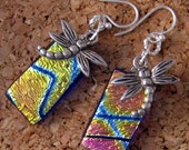 Dichroic Dragonfly Earrings, Fused Glass Earrings, Dichroic Jewelry, Fused Glass Jewelry