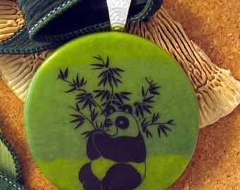 Fused Glass Pendant -  Panda Bear Pendant - Glass Pendant - Glass Jewelry - Green Glass Pendant - Panda Jewelry