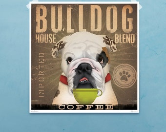 English Bulldog Coffee Company original graphic illustration giclee archival signed artist's print by stephen fowler geministudio