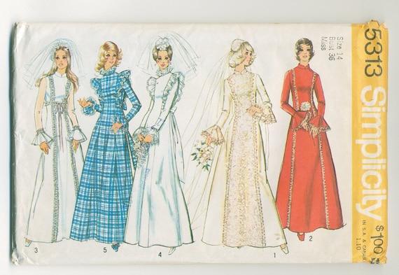 1972 Wedding and Brides Maid Dress Pattern, Belled Sleeves, Medieval Princess - UNCUT - Bust 36