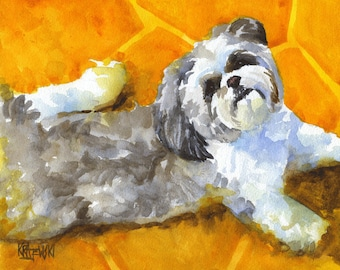 Shih Tzu Art Print of Original Watercolor Painting - 11x14