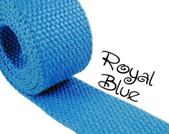 """Cotton Webbing - Royal Blue - 1.25"""" Medium Heavy Weight for Key Fobs, Purse Straps, Belting - SEE COUPON"""