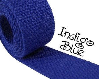 """Cotton Webbing - Indigo Blue - 1.25"""" Medium Heavy Weight for Key Fobs, Purse Straps, Belting - SEE COUPON"""