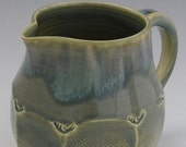 Faceted Stoneware Quart Pitcher in Celadon Blue-Green