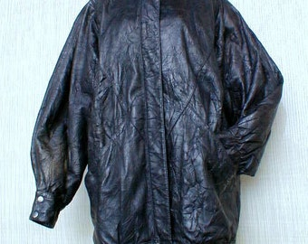 70s Pieced Leather Coat Bubble Style with Snaps sz 10 or 12 Sorry only one pic