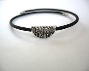 Silver Bracelet, Simple Silver Bead Cuff Bracelet, Handmade Artisan Jewelry, Silver Jewelry, Artisan Jewelry