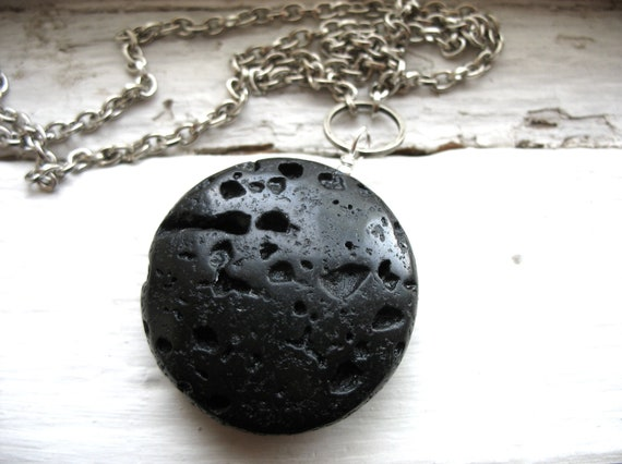 Lava Rock, Lava Rock Stone Pendant Necklace, Black Lava Rock Stone Statement Chain Necklace, Handmade Artisan Jewelry, FREE Shipping