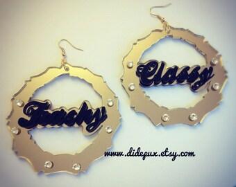 bamboo name earrings (custom name and color)