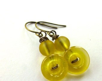 Shiny Yellow Earrings from repurposed Vintage Buttons