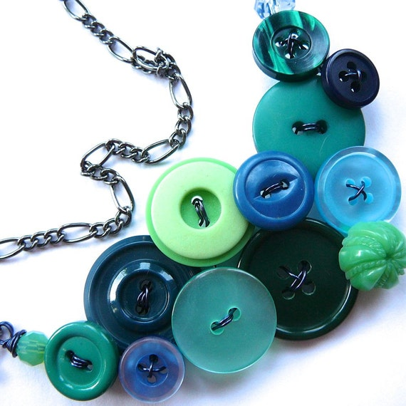 Blue Teal Green Cool Colors Button Necklace