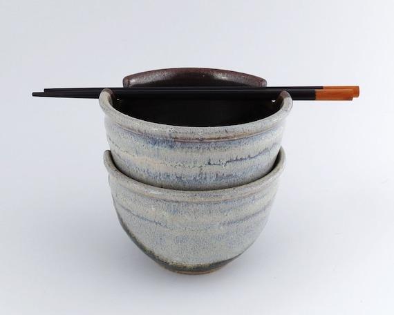 Rice Bowls- Noodle Bowls - Pair of 16 oz. Bowls - Temmoku Brown, White Stoneware