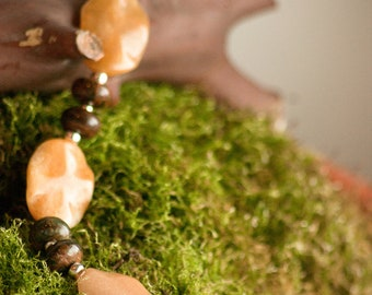 Faceted Aragonite with Green Opal and Sterling Silver Toggle Clasp
