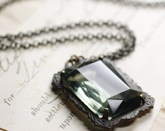 Noir crystal necklace grey jewel goth Victorian black glamour gothic emerald ruby amethyst antique vintage style brass mayfair art deco gem